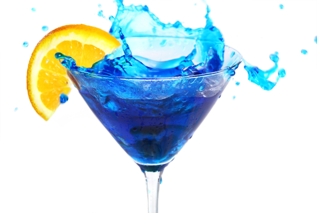 Blue cocktail with orange